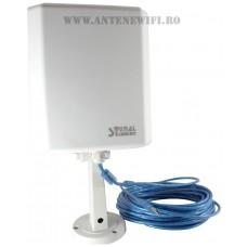 Adaptor Wifi, Wireless Usb Signal King 10TN 2000mW Antena 20DBI Exterioara 10M Cablu